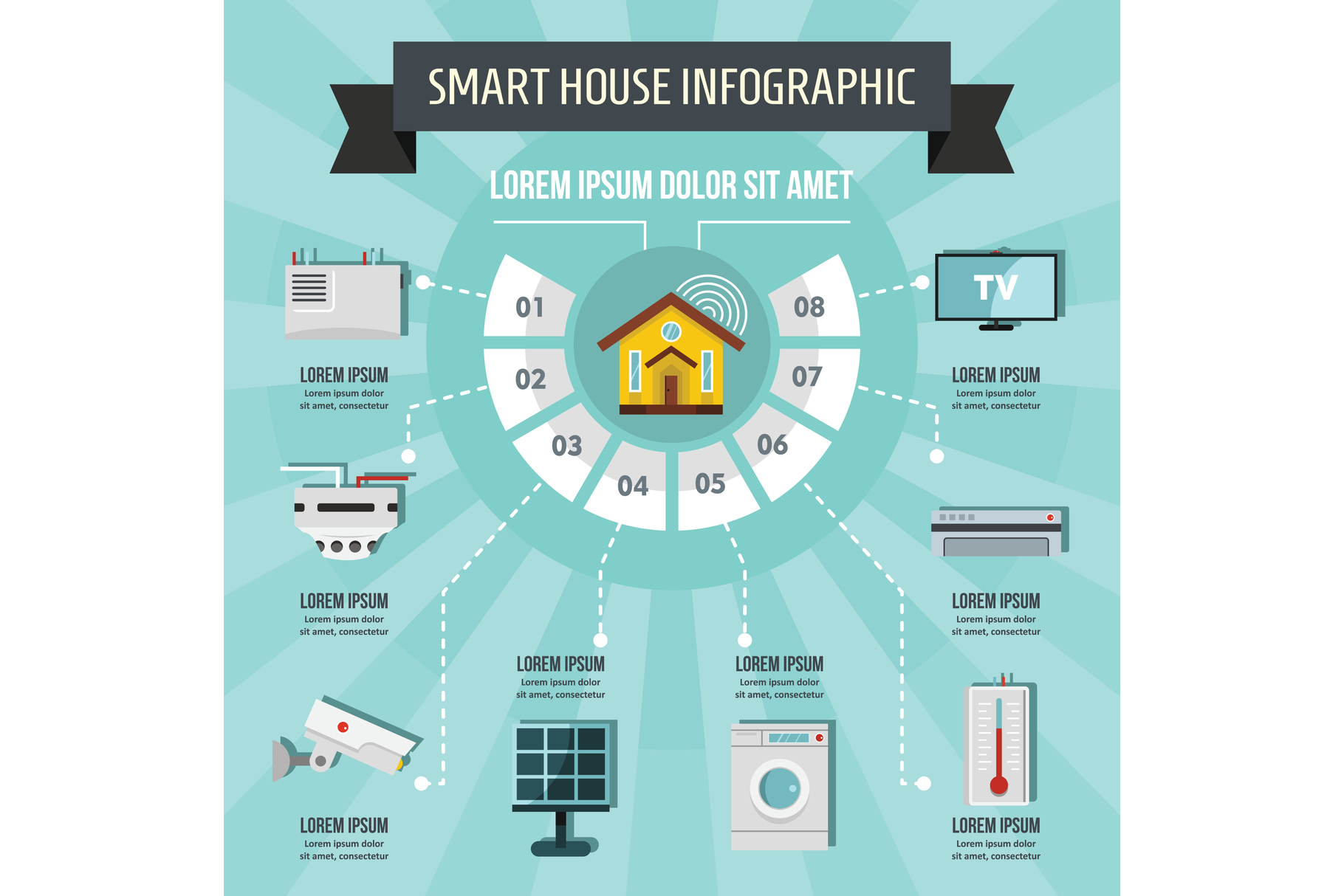 Smart house infographic concept, flat style example image 1