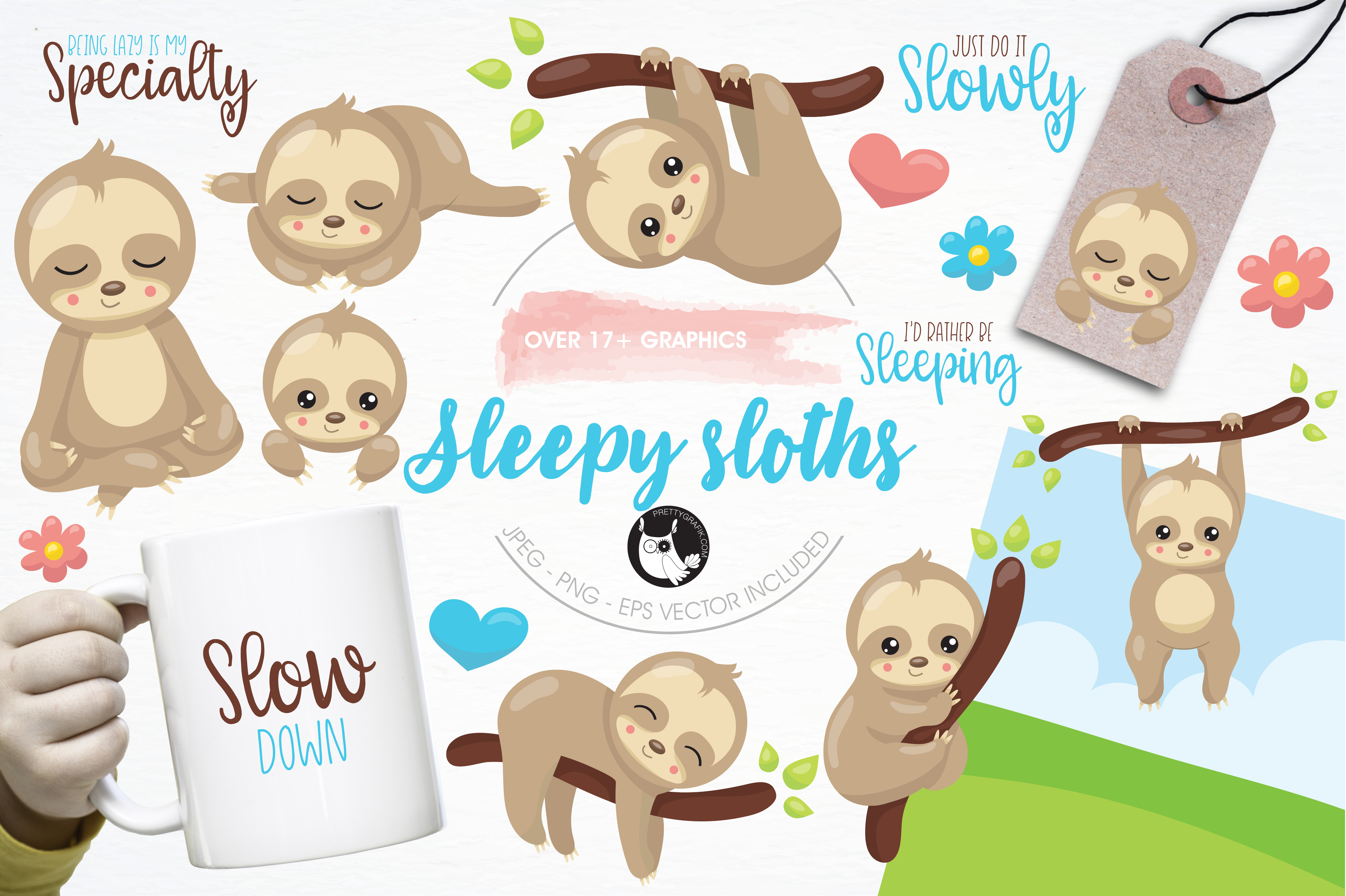 Sleepy sloth graphics and illustrations example image 1