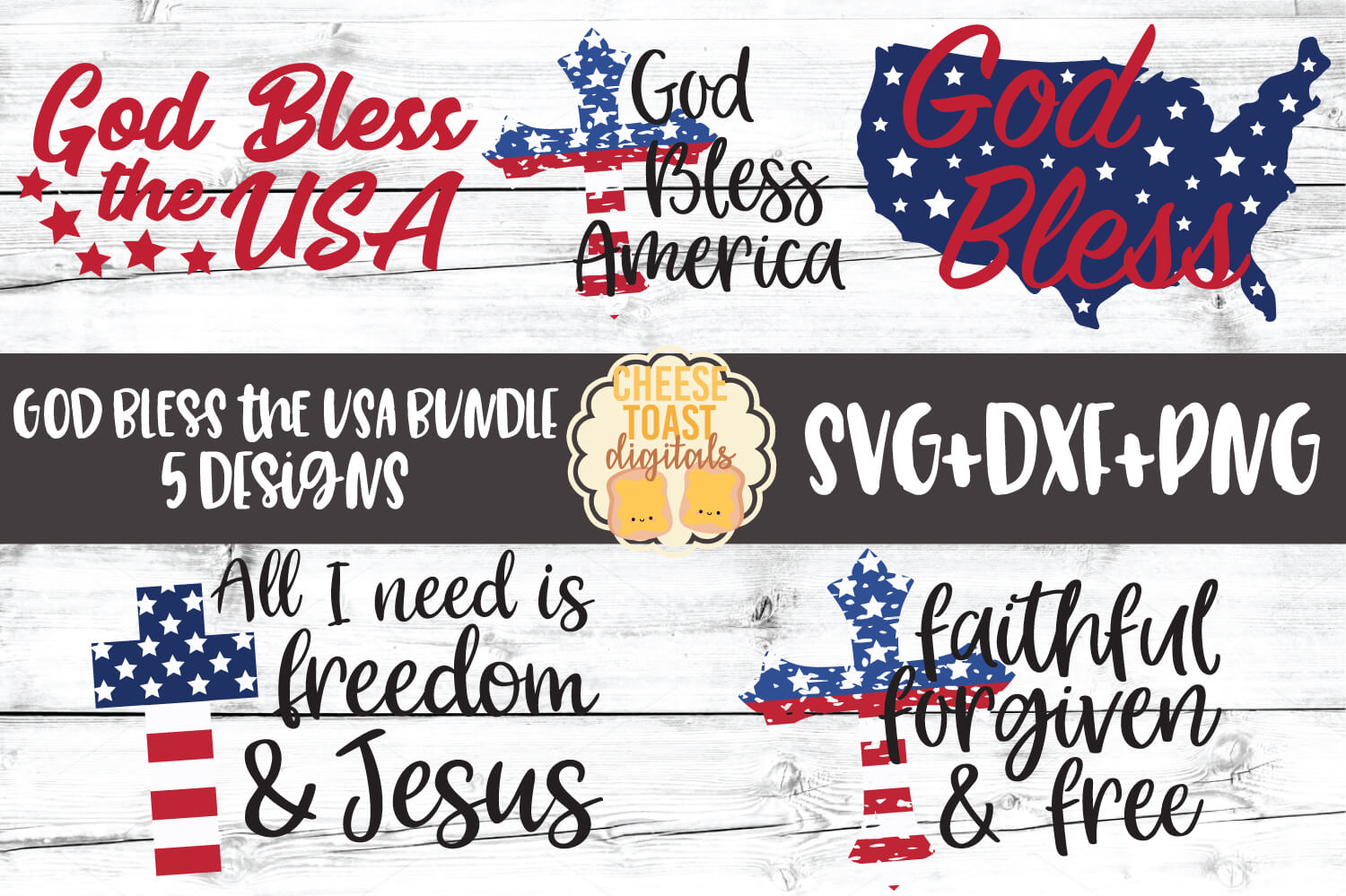 God Bless the USA Bundle - Fourth of July SVG PNG DXF Files example image 1