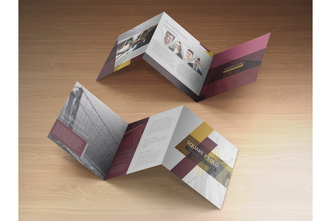 Square Z-Fold Brochure Mockup example image 2