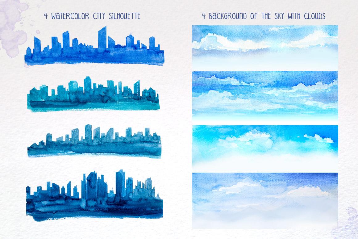 City Builder. Watercolor. example image 4