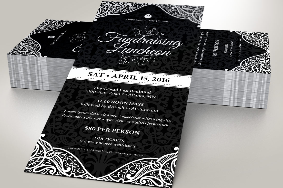 Black White Luncheon Flyer Template example image 6