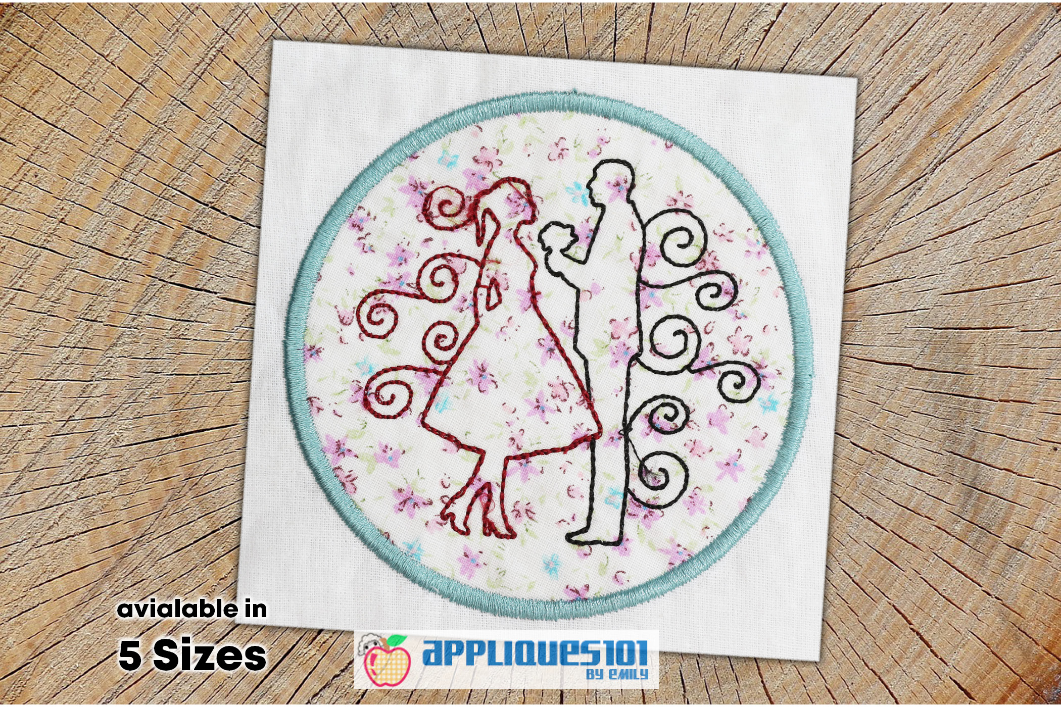 Couple in Love Machine Embroidery Applique Design - Couples example image 1