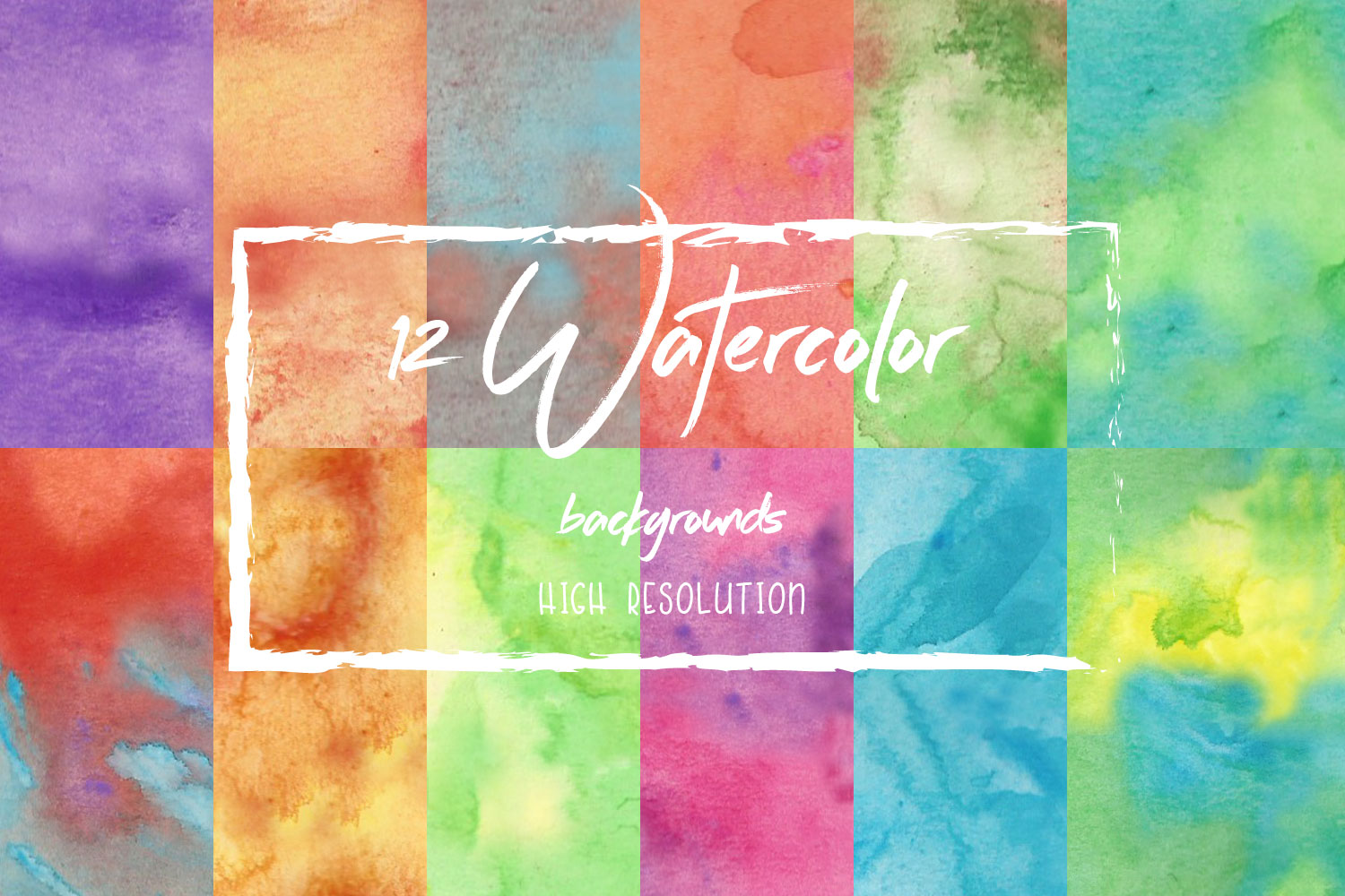 12 Watercolor Backgrounds High Resolution example image 1