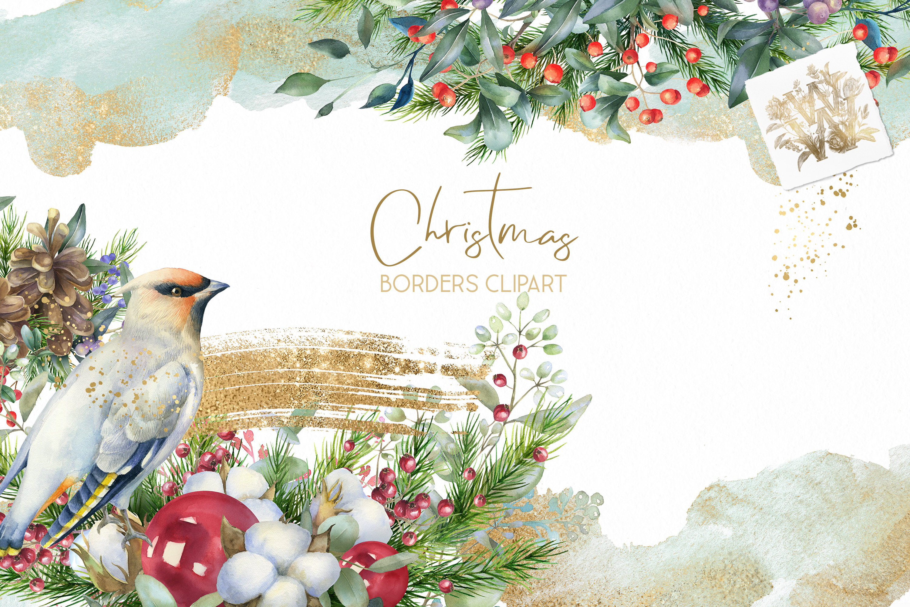 Christmas Watercolor Floral bouquets clipart, Winter wedding example image 5