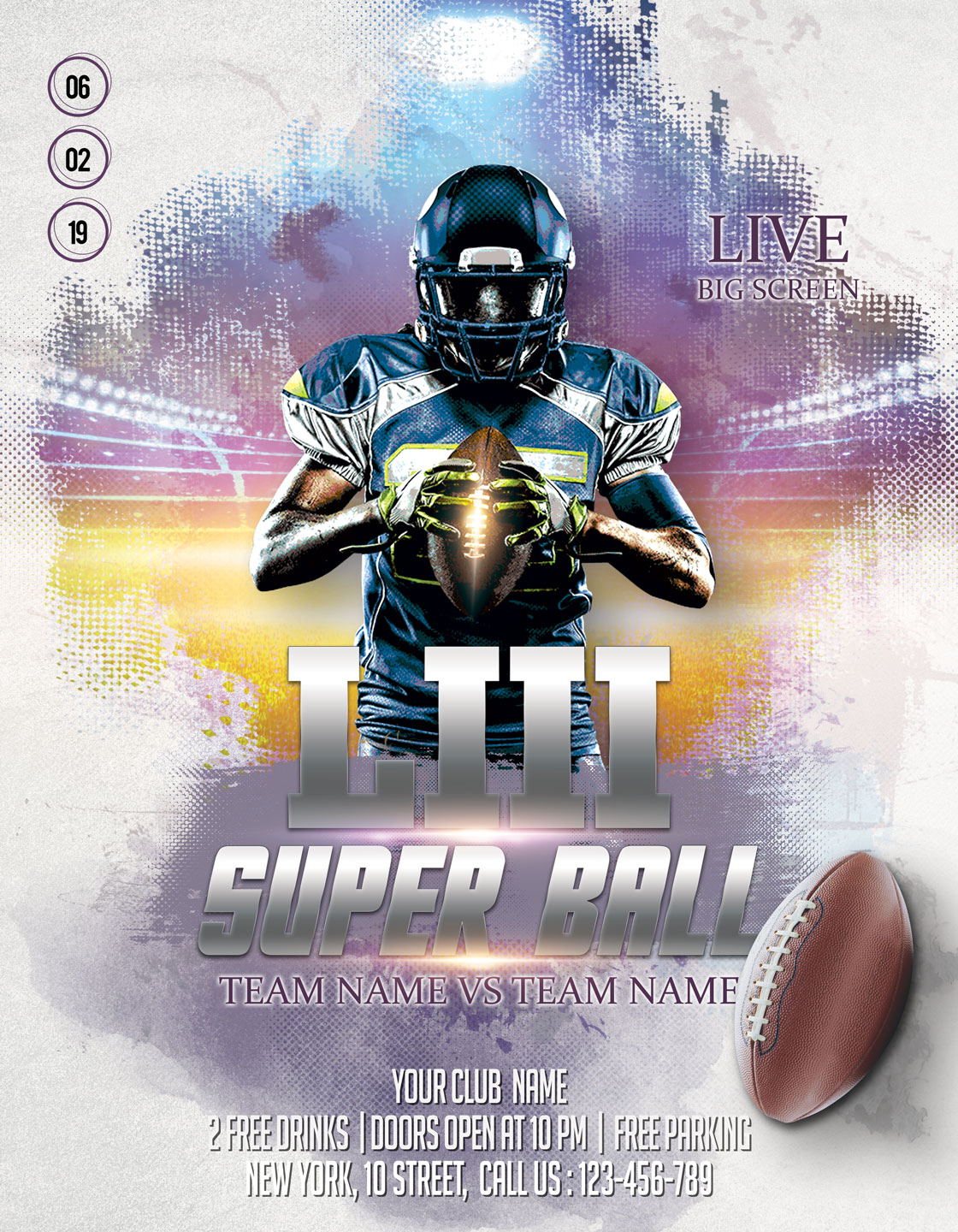 American Football Flyer And Poster example image 3
