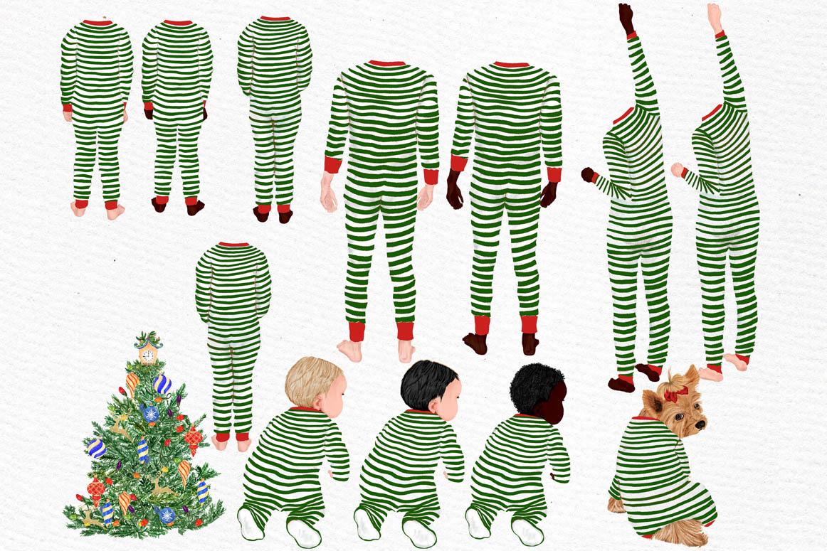 Christmas family clipart, Matching pajamas, Christmas Tree example image 5
