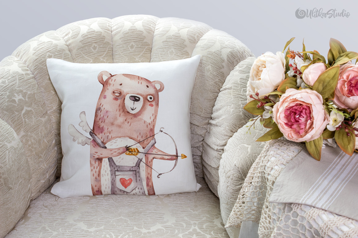 Cozy Valentines Day. Lovely bears watercolor collection example image 14