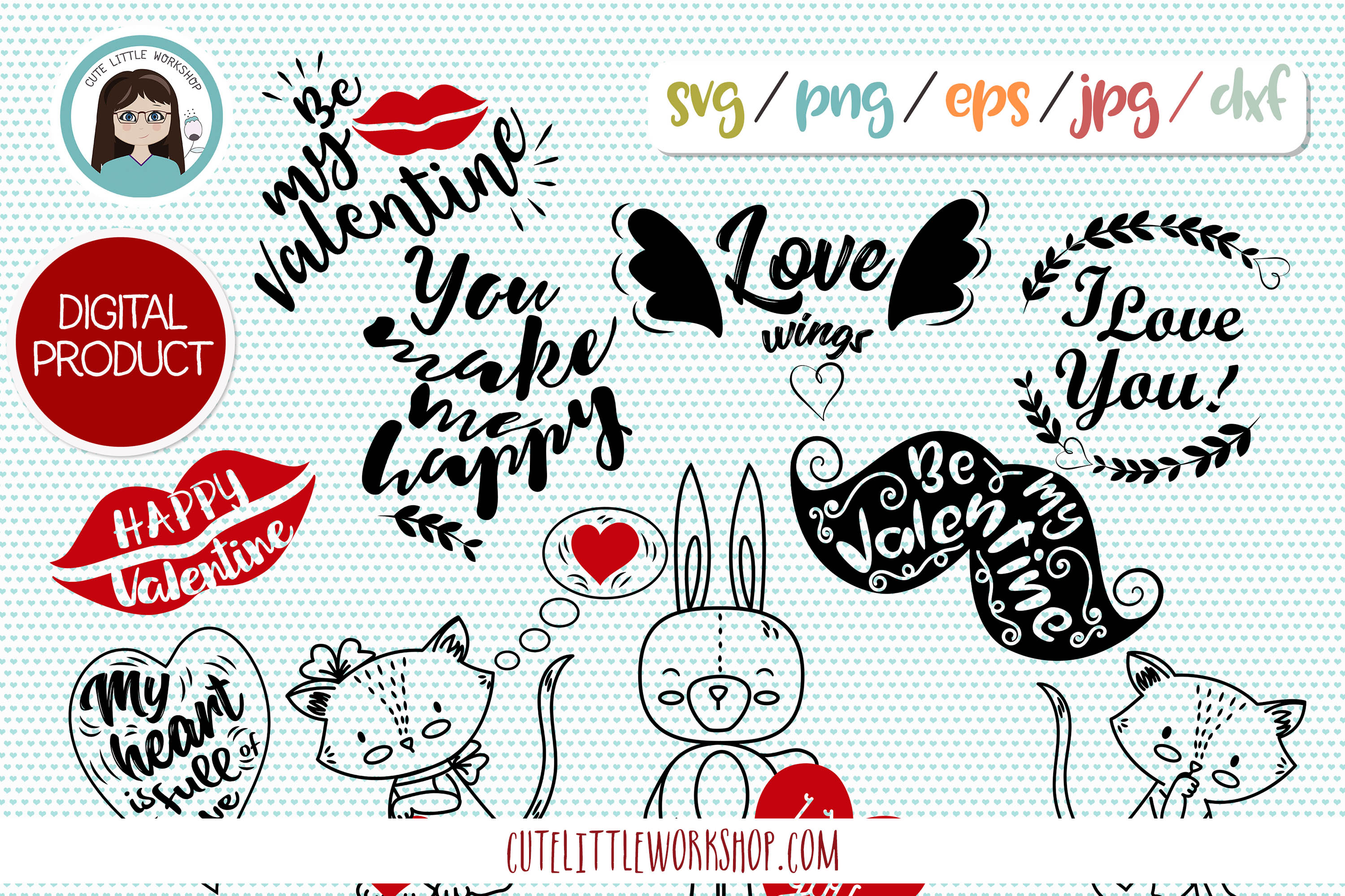 Valentine svg, dxf, png, eps example image 1