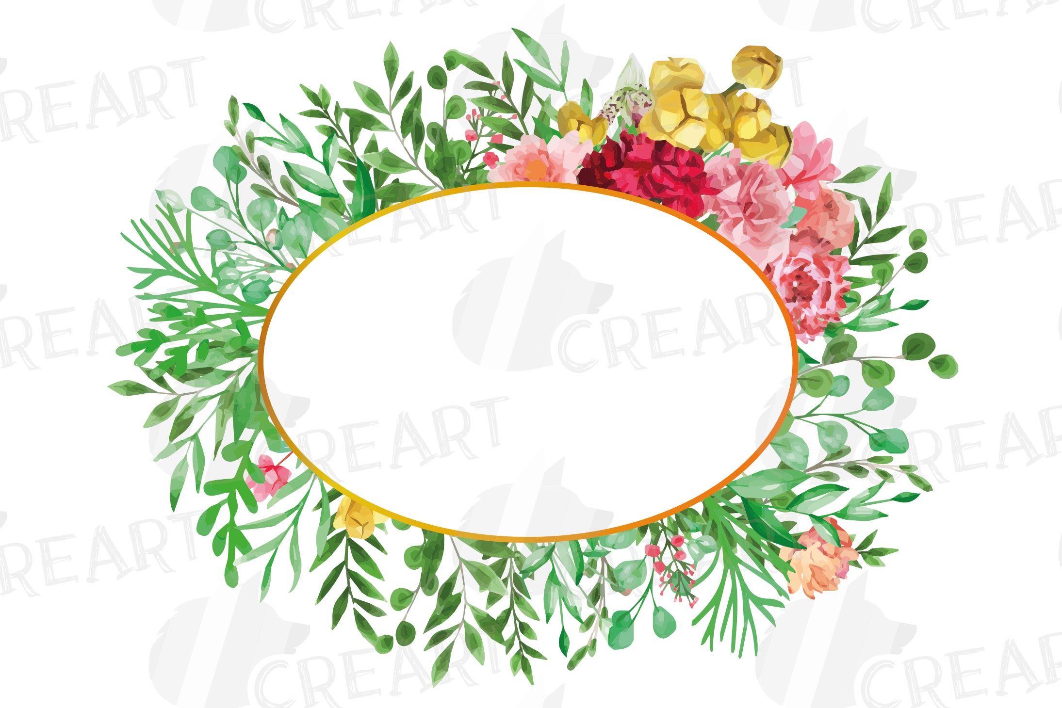 Watercolor floral floral frames and borders clip art pack example image 3