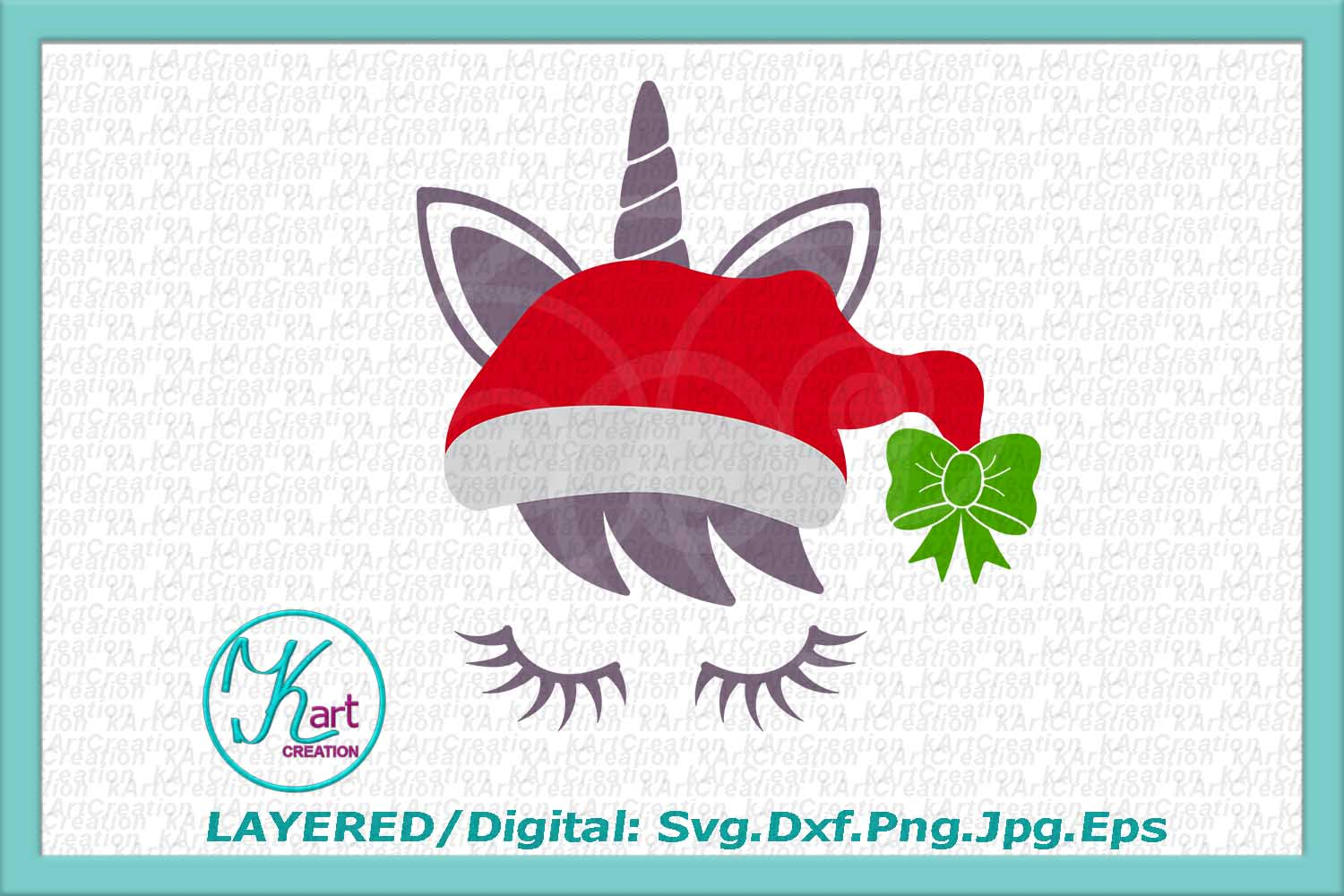 Christmas unicorn in Santa hat eyelashes svg dxf for cut png example image 2