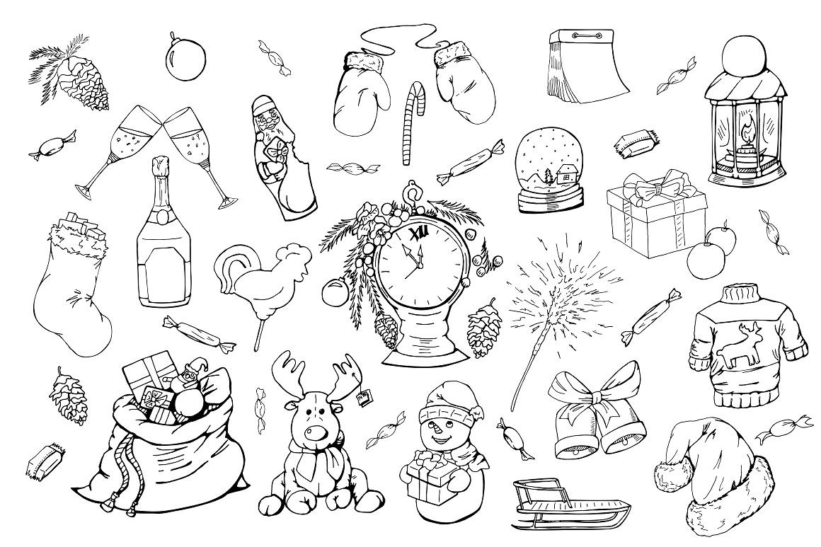 Christmas doodle set + patterns example image 10