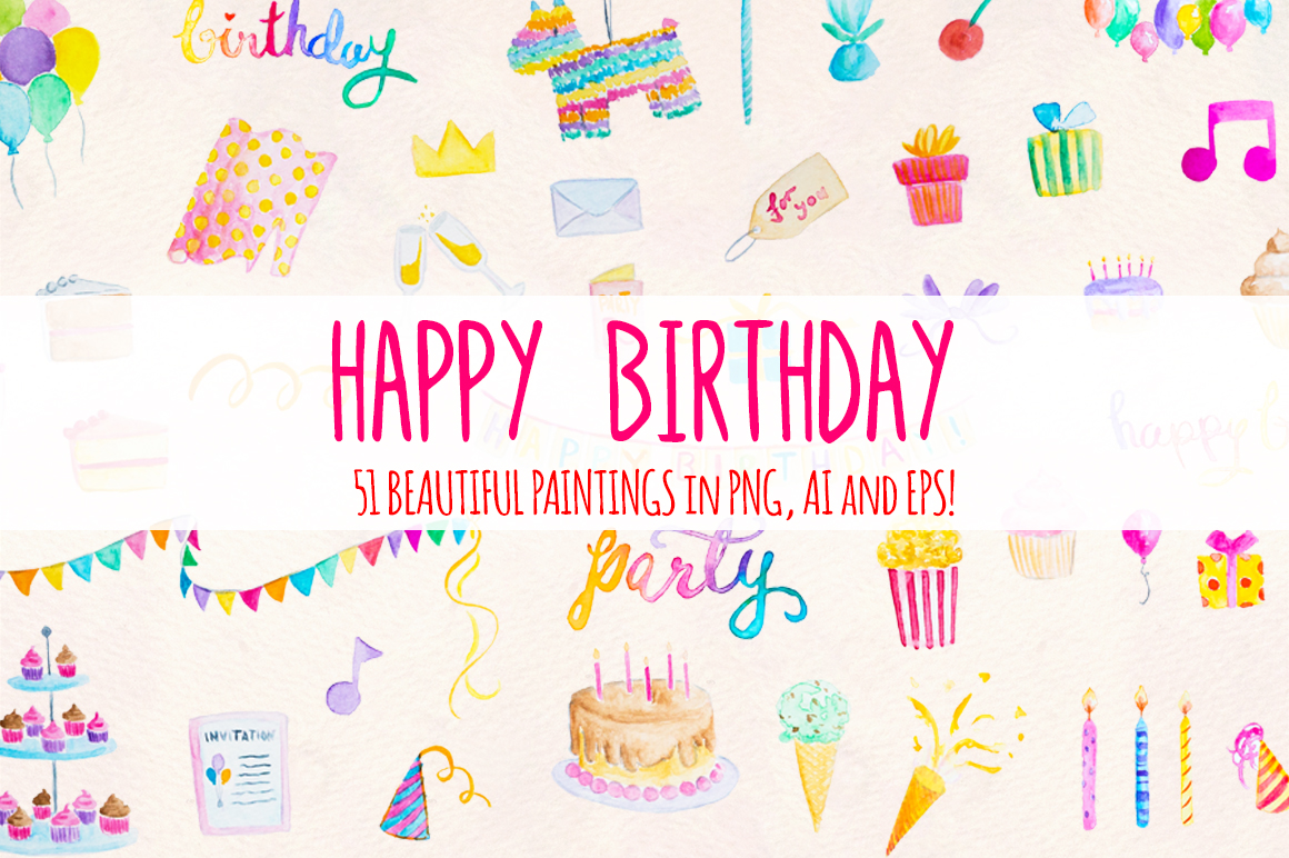 51 Happy Birthday Cute Watercolor Party Elements example image 1