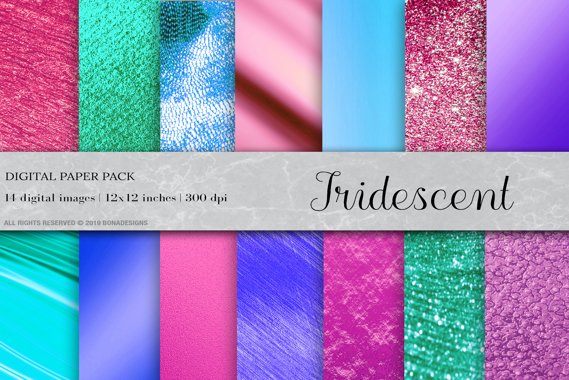 Iridescent Digital Papers, Iridescent Backgrounds example image 1