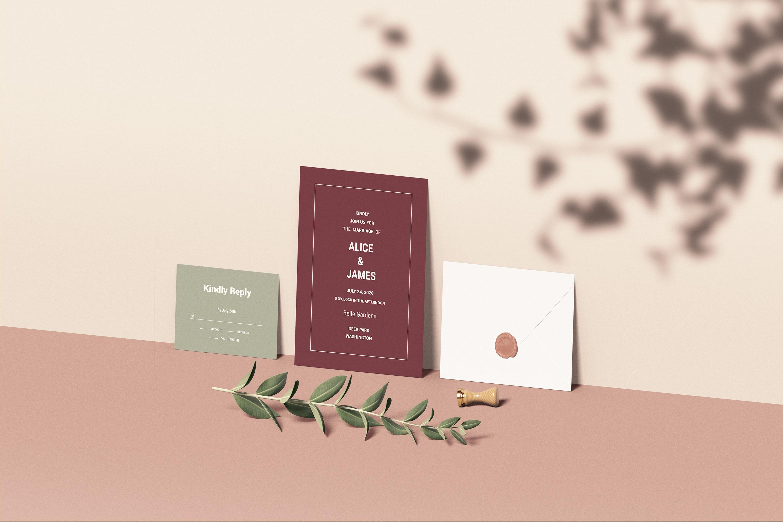 Wedding Invitation Set Mockup example image 4