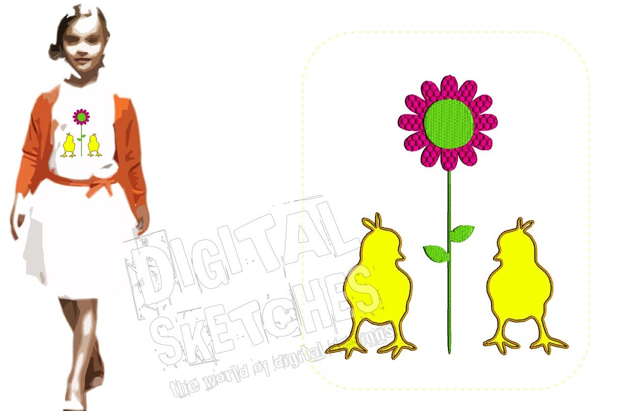 Chick Applique Flower Machine Embroidery Design Chicken example image 1