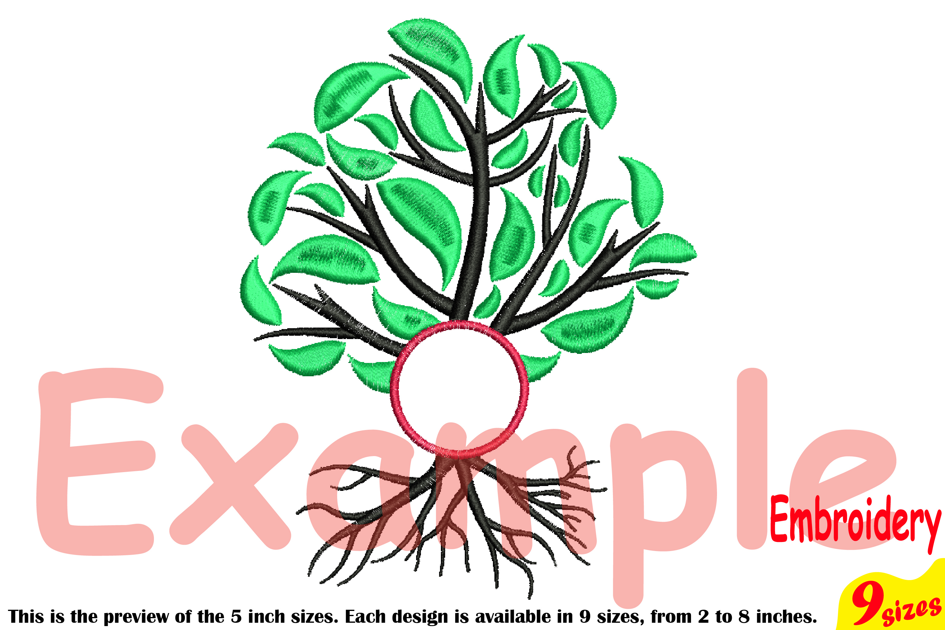 Family Tree Circle Embroidery Design Machine Instant Download Commercial Use digital Outline family love Frame Deep Roots Branches 206b example image 3