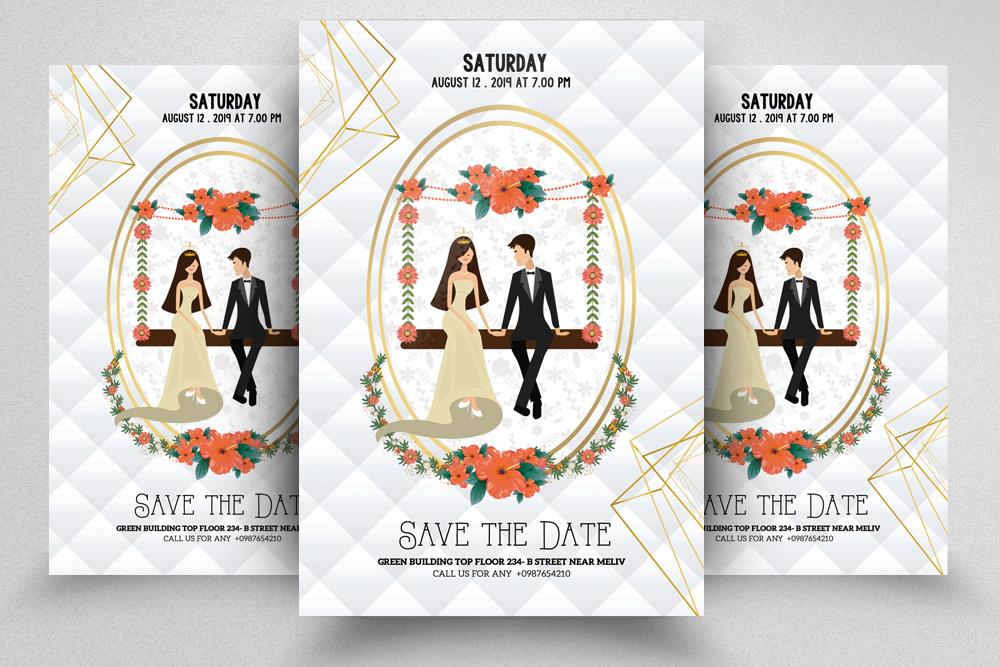4 Wedding Invitation Flyers Bundle example image 5