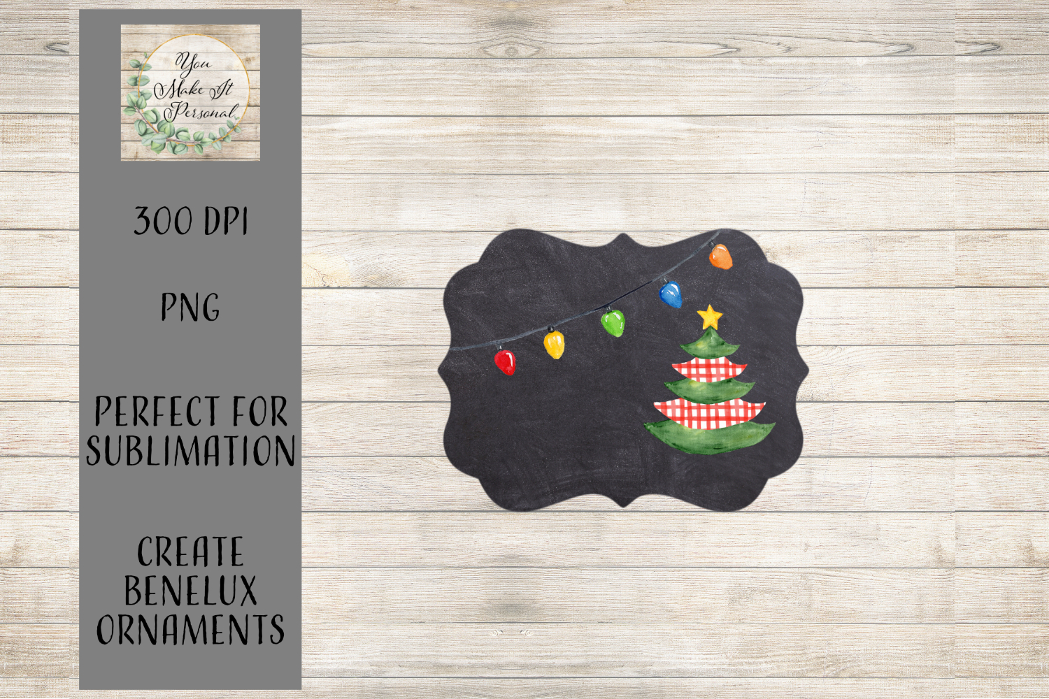 Sublimation Ornament Template - Chalkboard Background example image 1