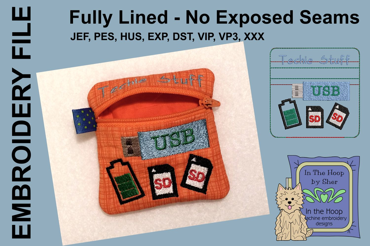 Techie Stuff Mini Zipper Bag / Fully Lined, 4X4 HOOP example image 2