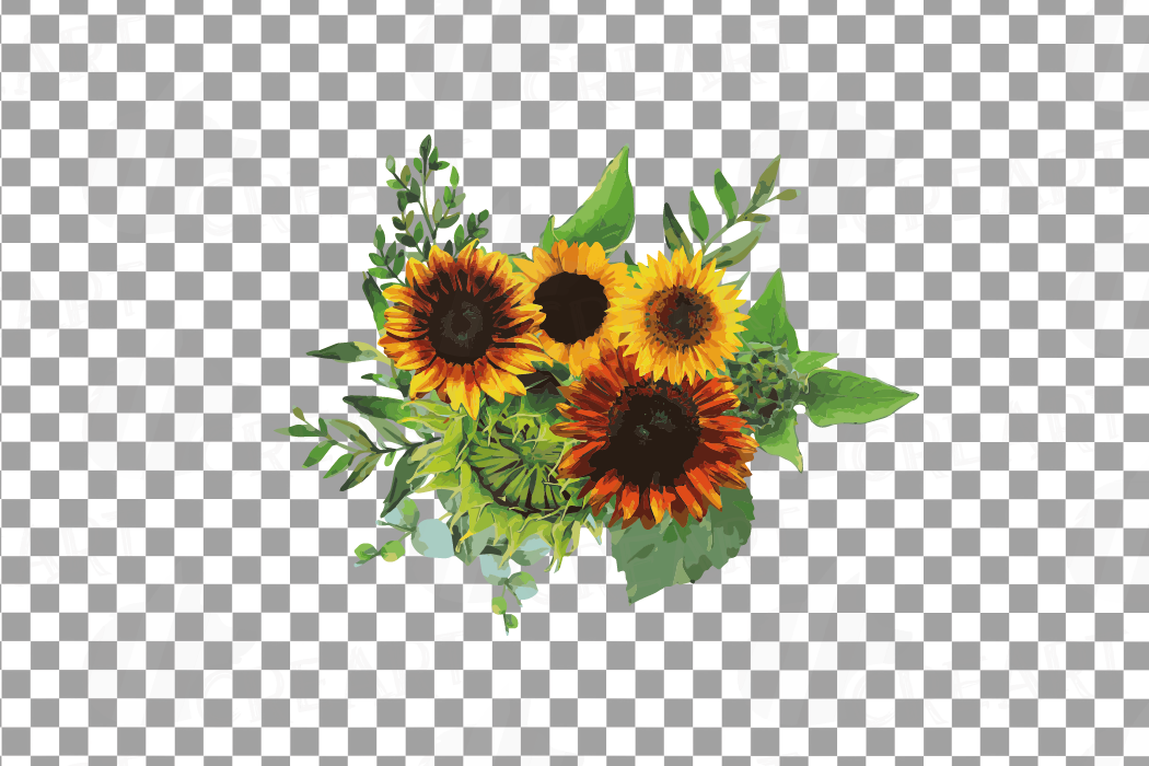 Watercolor sunflower bouquets and design elements example image 14