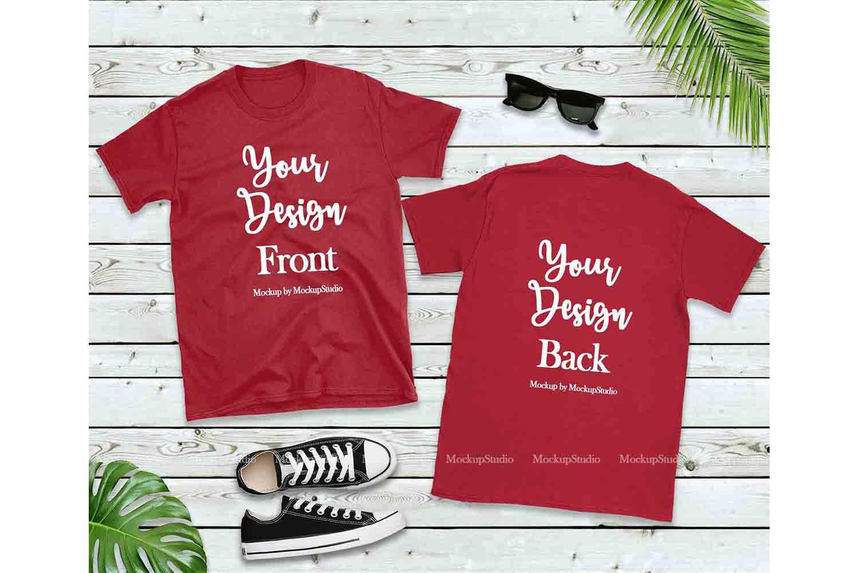 Front & Back Red Tshirt Mockup, Gildan 64000 Shirt Mock Up example image 1