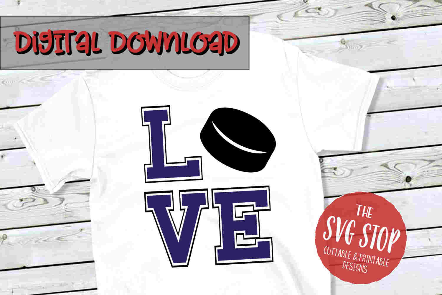 Love Hockey 2 -SVG, PNG, DXF example image 1