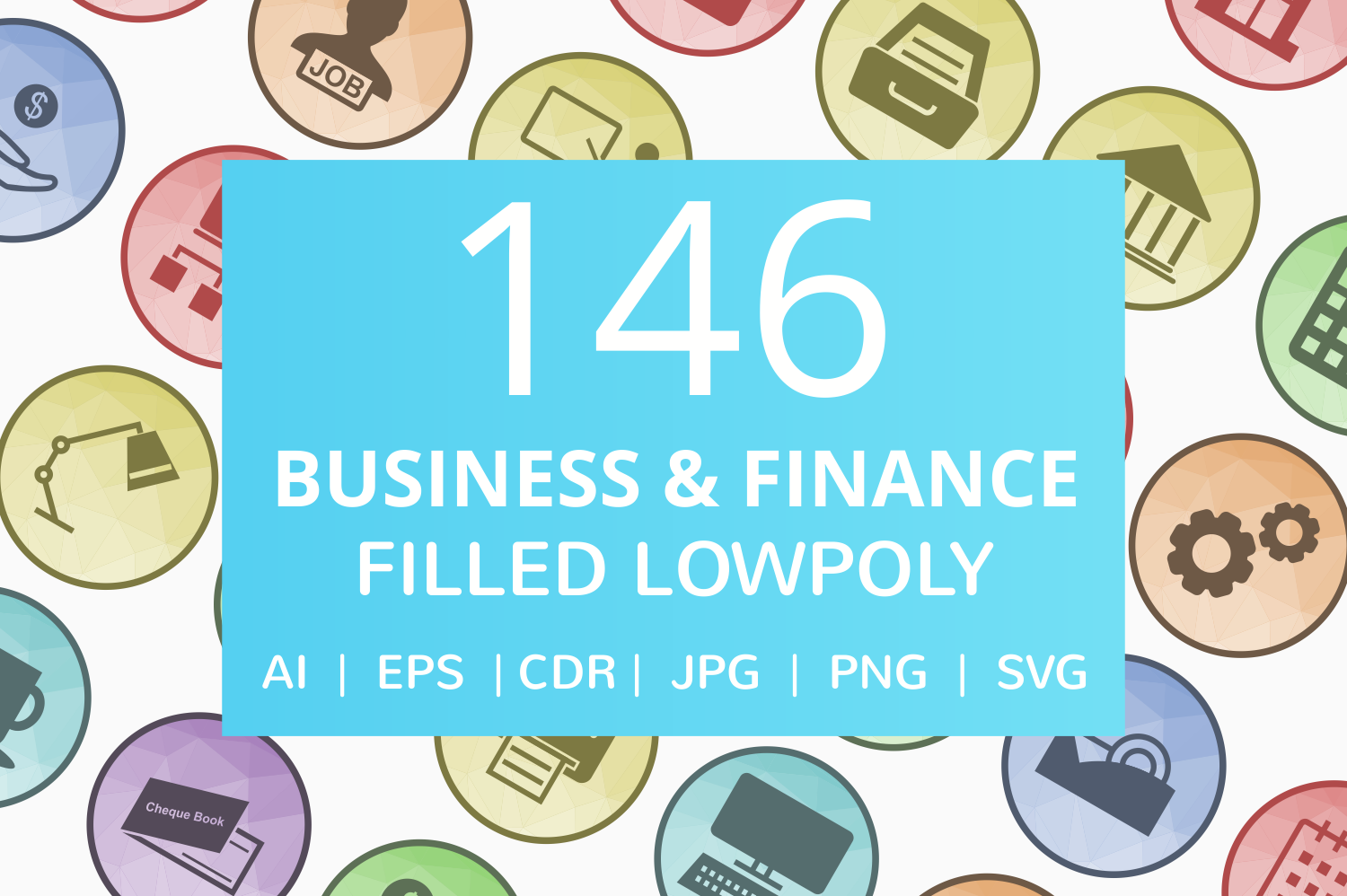 146 Business & Finance Filled Low Poly Icons example image 1