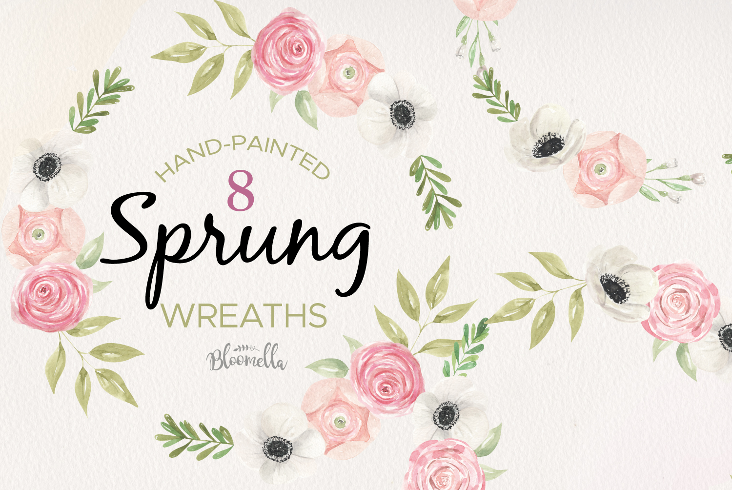 Sprung Floral 6 Wreath Watercolor Flower Tulips Peach Pink example image 1