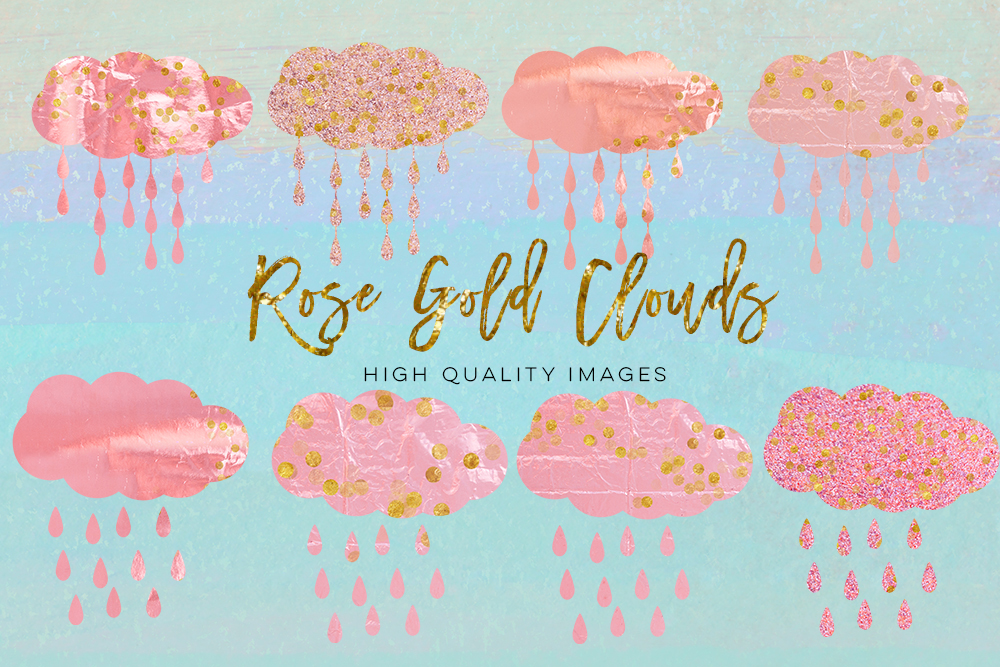 rose gold cloud clip art, pink gold cloud clip art, Clipart Instant Download, party decor, nursery room DIY decor, pastel clip art, rain example image 2
