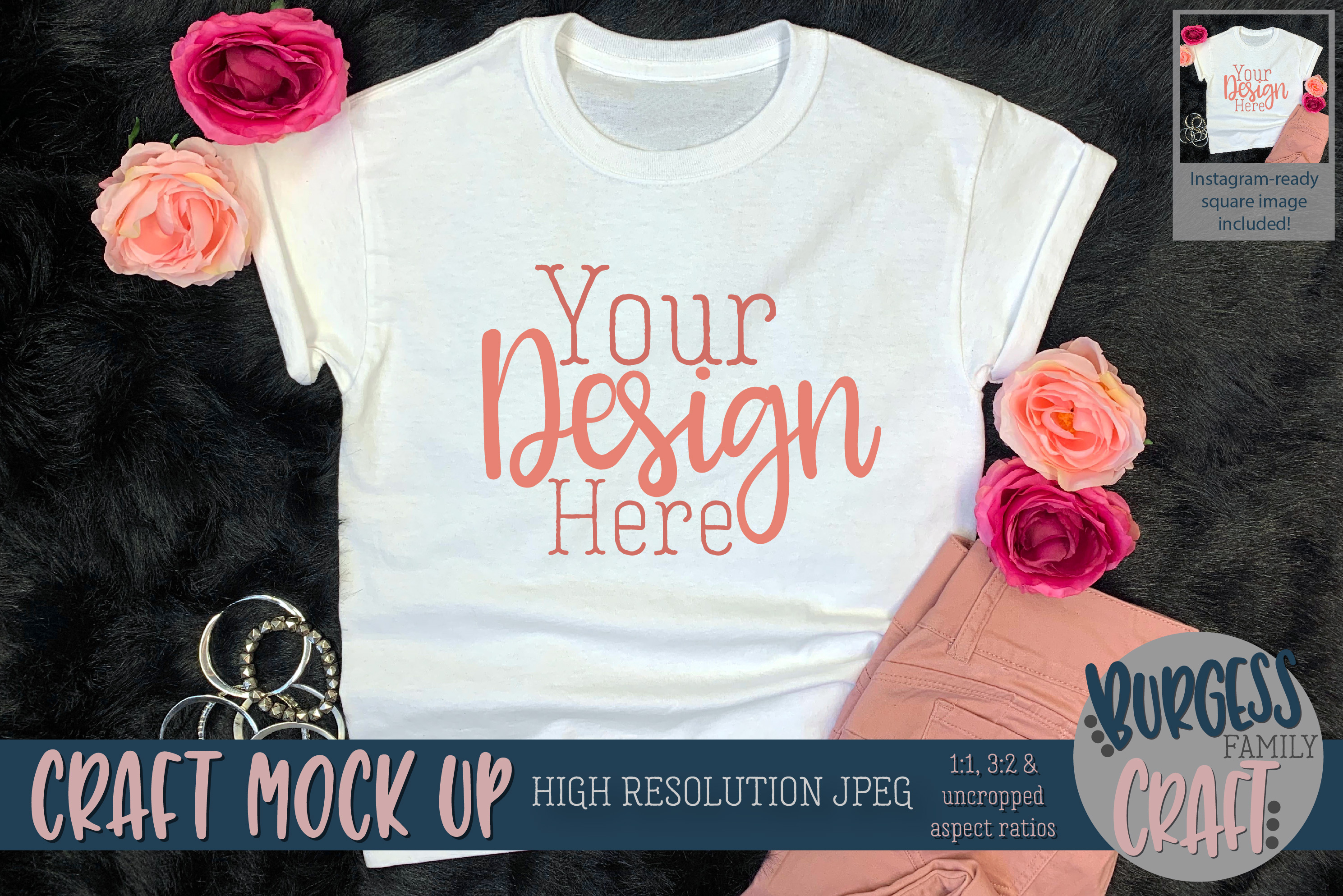 Youth Shirt Pretty in Pink Craft mock up | High Res JPEG example image 1