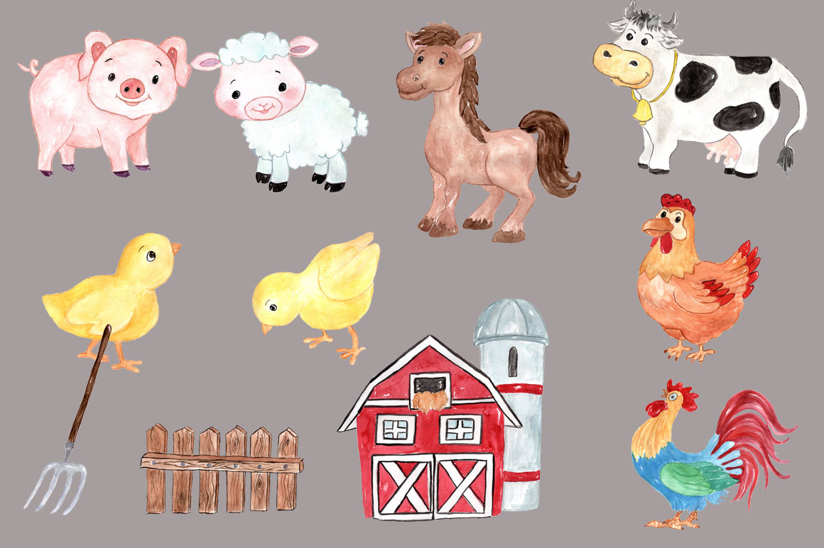 Watercolor farm animals clipart example image 2