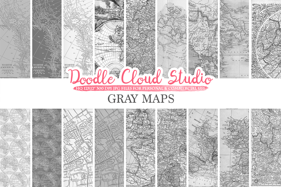 Gray Maps digital paper, Vintage Old World Map, City, Nautical, Geographic Shabby Grey textures Instant Download Personal & Commercial Use example image 2