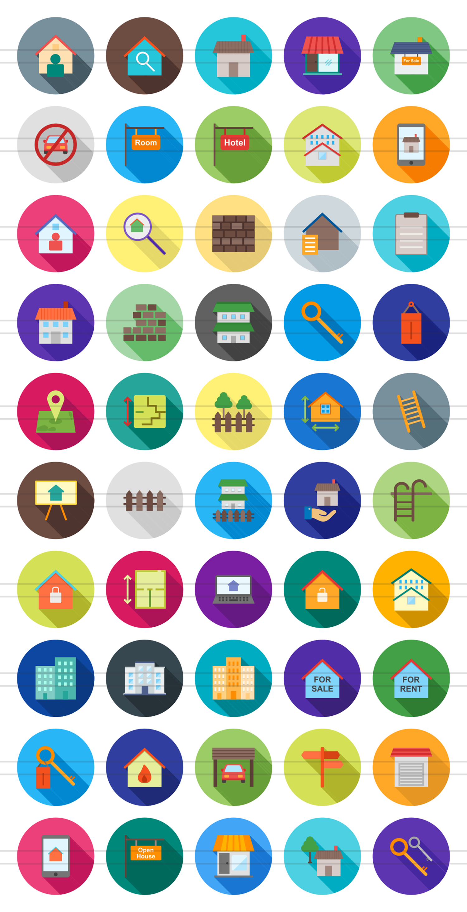 50 Housing Flat Long Shadow Icons example image 2