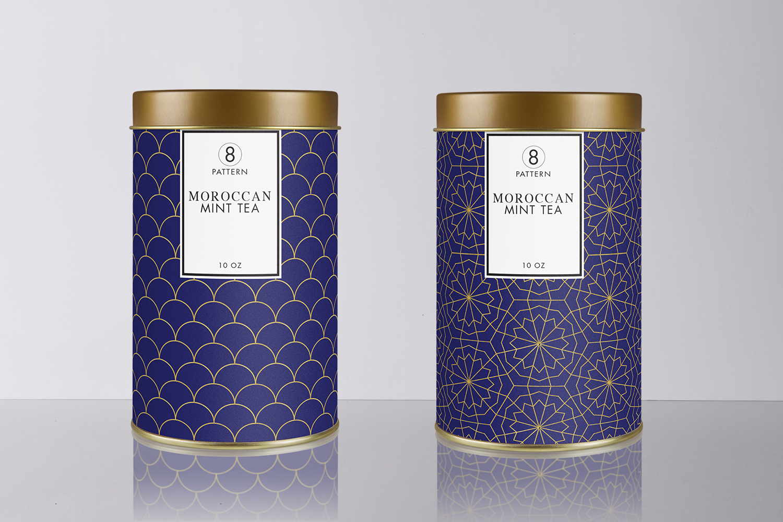 8 Seamless Moroccan Patterns - Gold & Cobalt Blue Set 1 example image 5