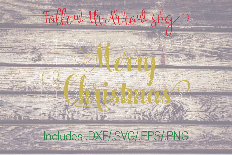 Merry Christmas Cursive Swirls Svg example image 1