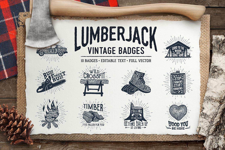 Lumberjack. Vintage Badges (part 1) example image 1