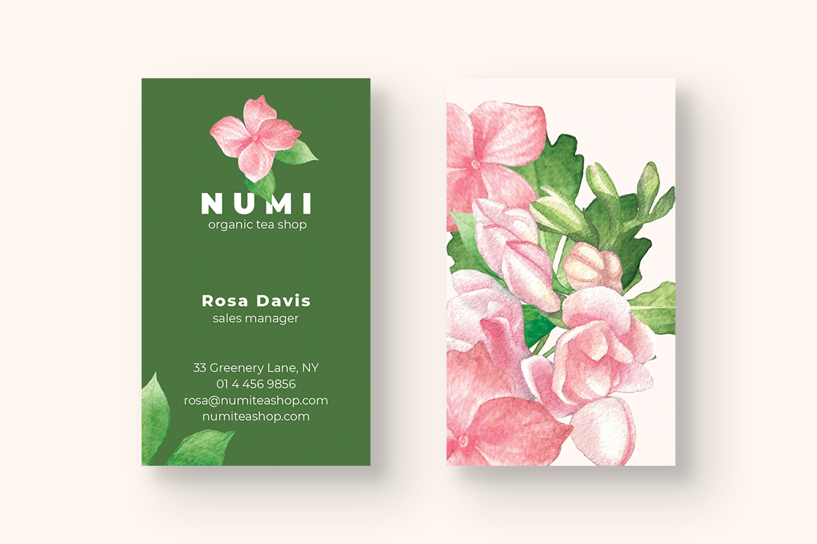 Organic Tea Shop Business Card example image 2