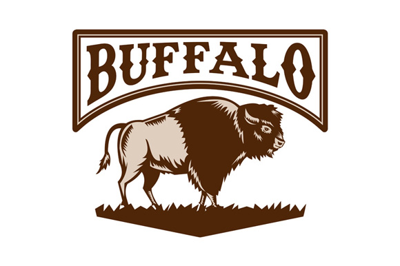 Buffalo American Bison Side Woodcut example image 1