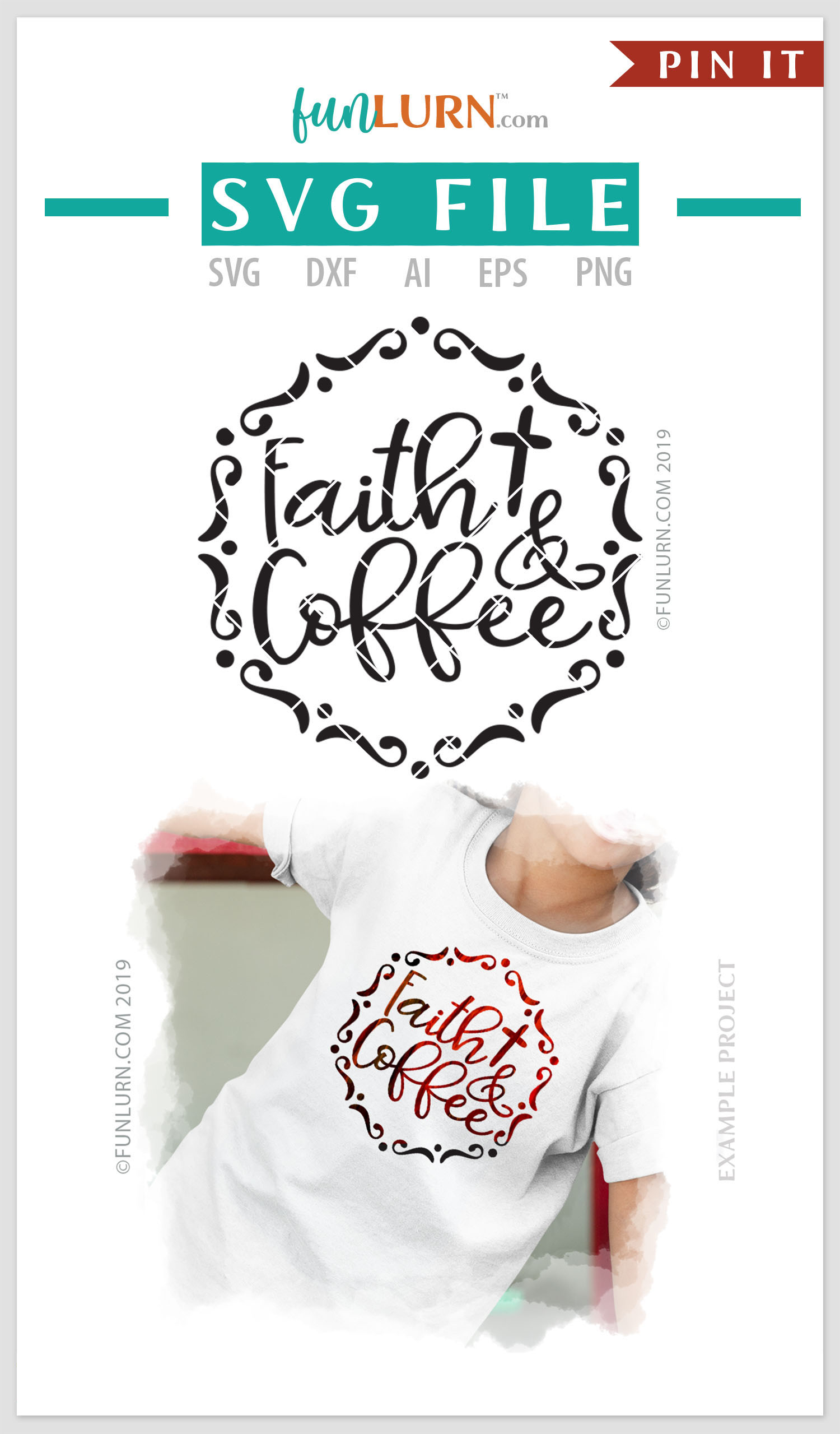 Faith and Coffee SVG Cut File example image 4