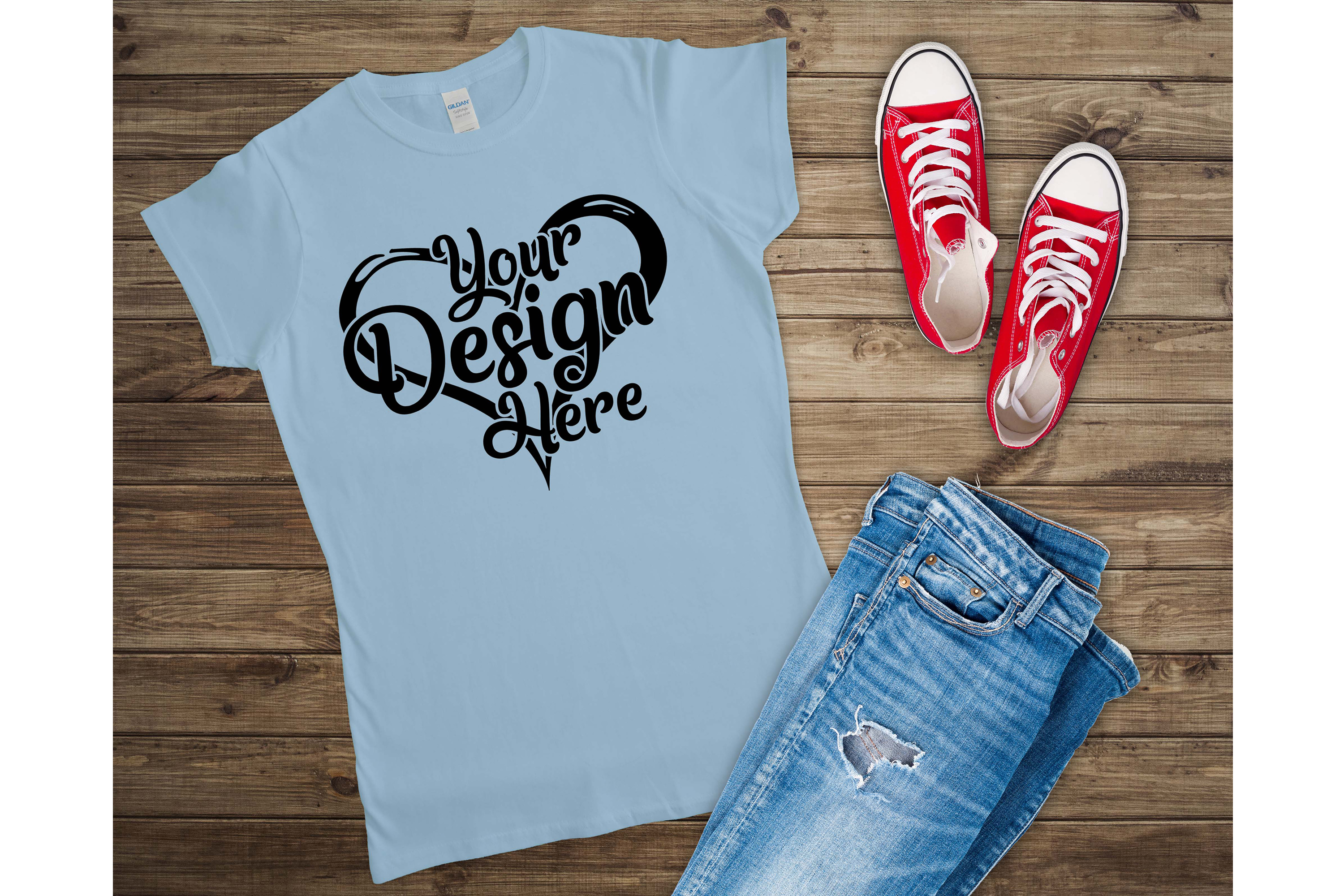 Gildan 64000L Ladies T-Shirt Mockup Bundle Flat Lay example image 7