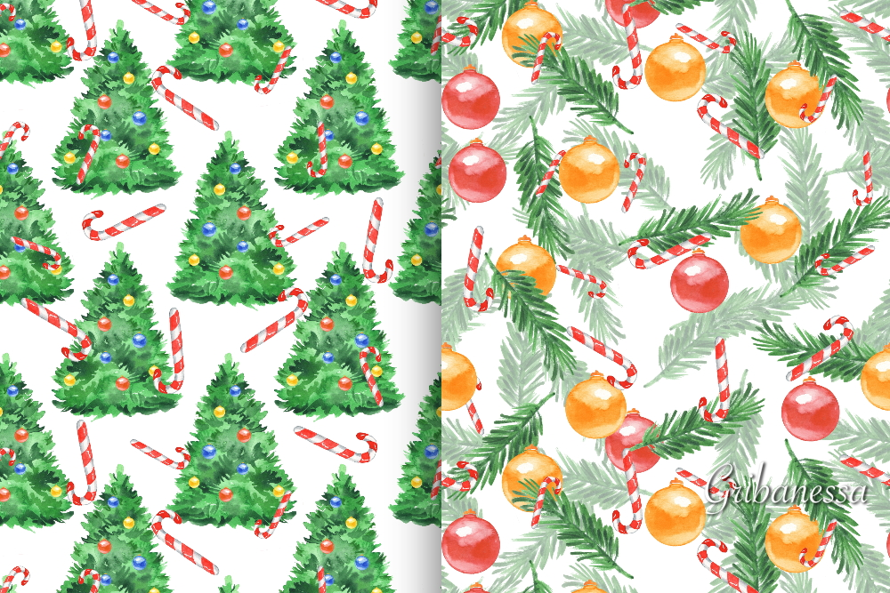 Christmas patterns set 2. Watercolor example image 3