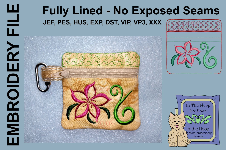 Swirly Flower Zipper Bag / Fully Lined, 4X4 HOOP example image 1