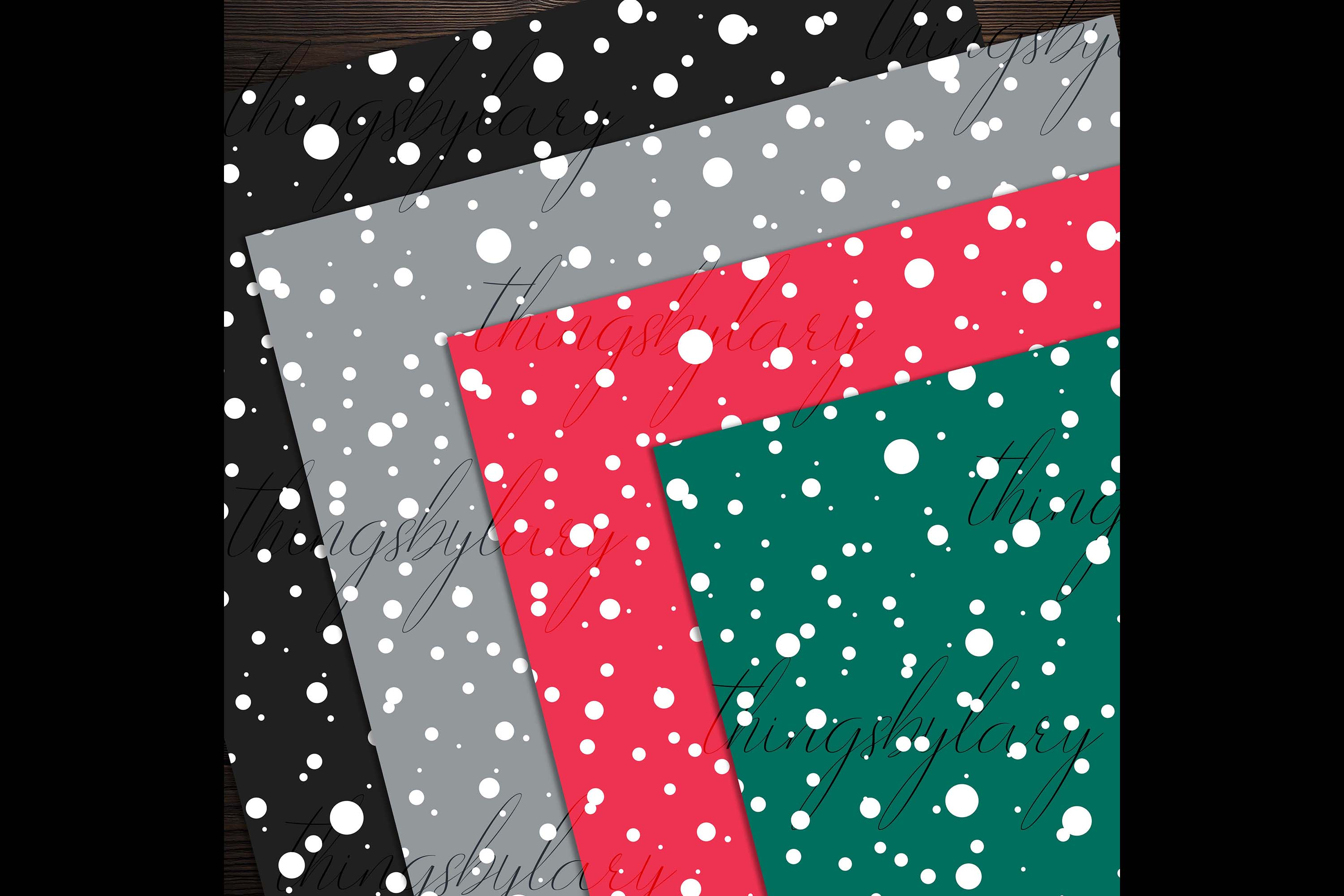 100 Seamless Falling Christmas White Snow Digital Papers example image 4