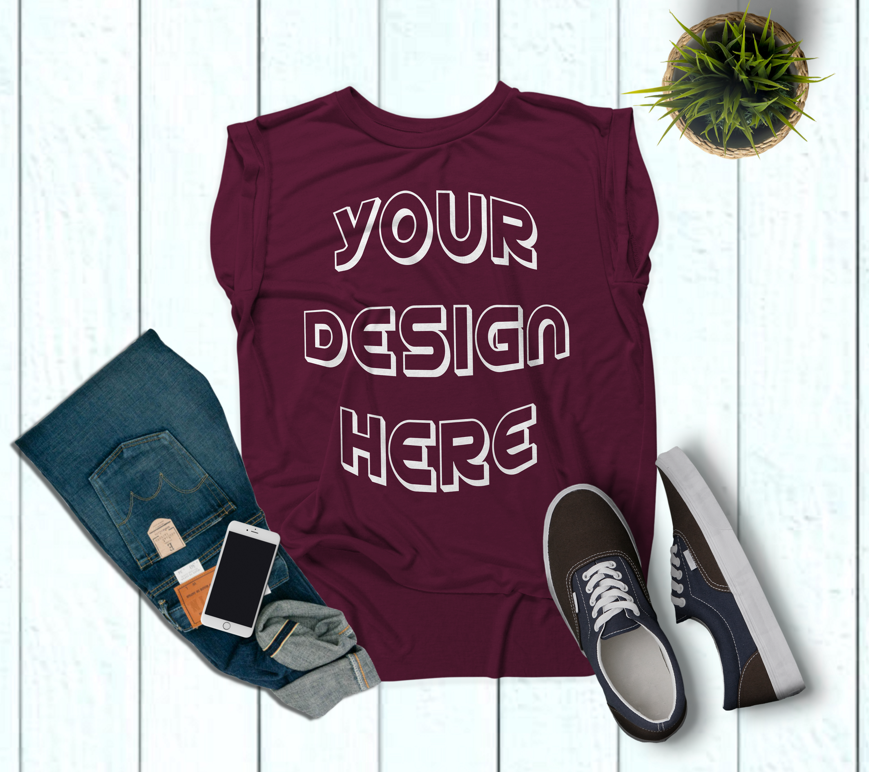 Women's Rolled Cuffs Tank Mockups - 7 example image 2