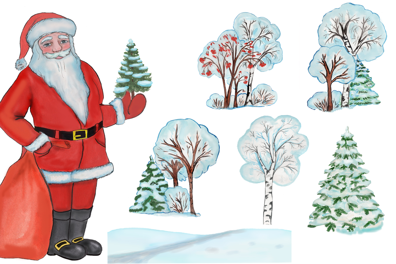 Christmas clipart, winter forest trees with Santa Claus example image 4