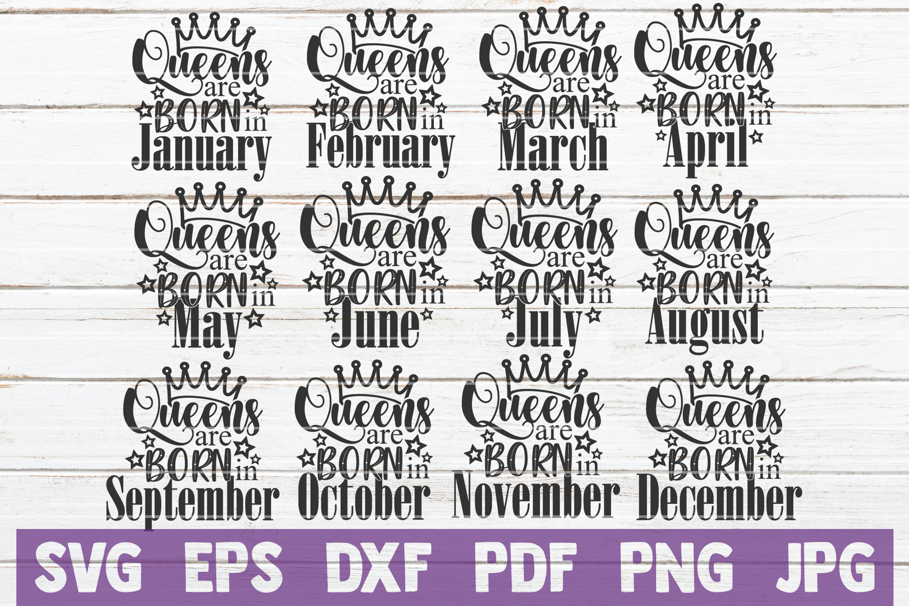 Queens Are Born In ... SVG Bundle | Birthday girl Cut Files example image 1