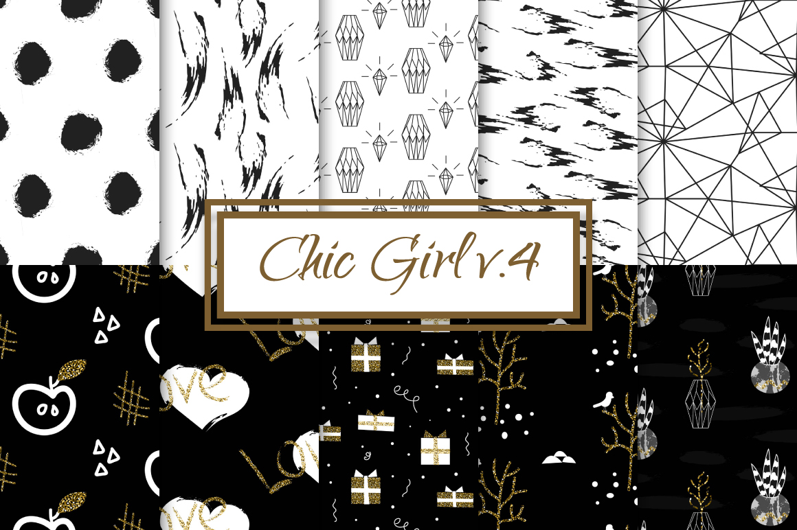 Chic Girl v4. - seamless patterns example image 1