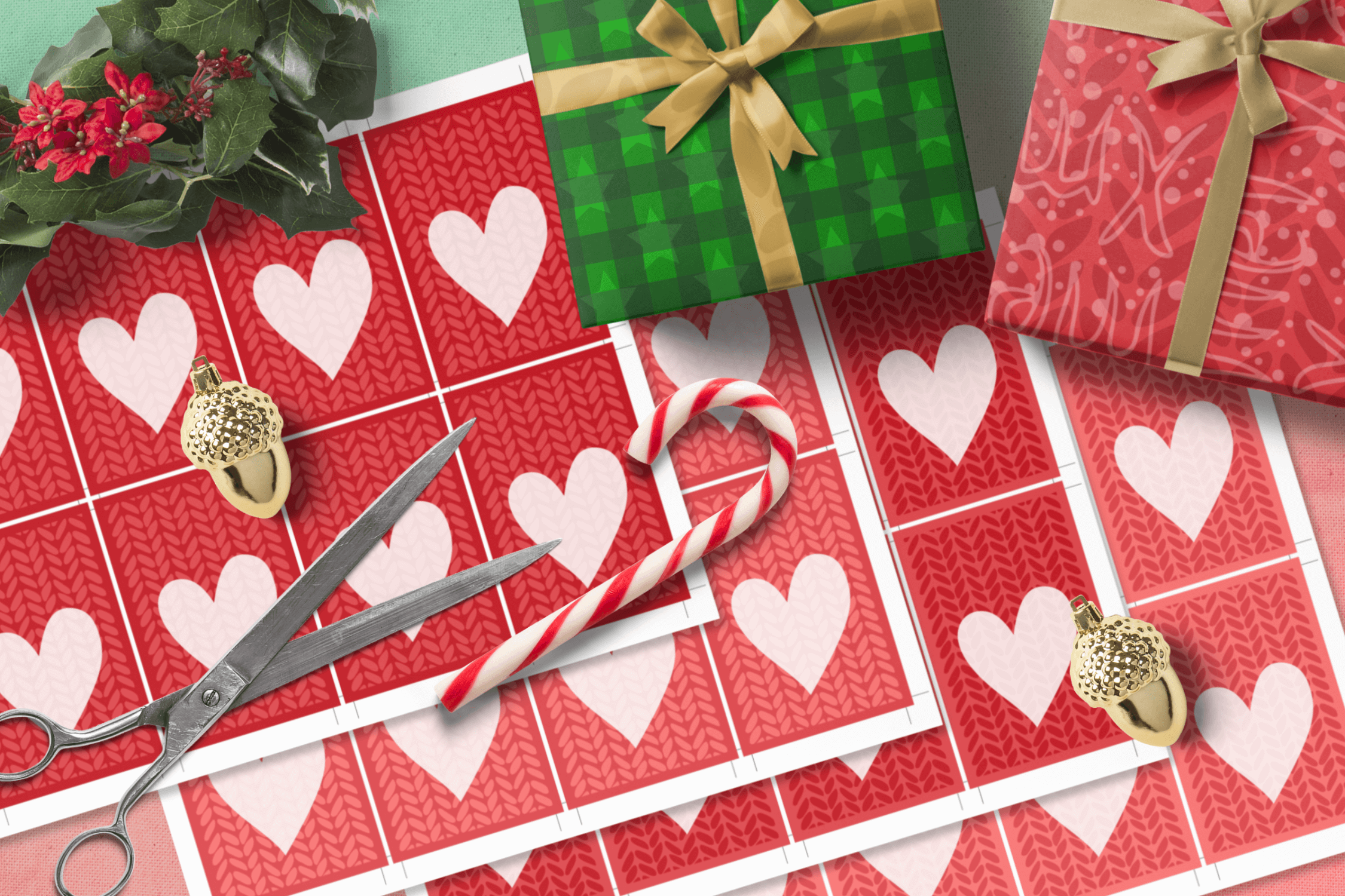 Printable Warm Wishes Red Tags Knitting Branding Tags example image 5