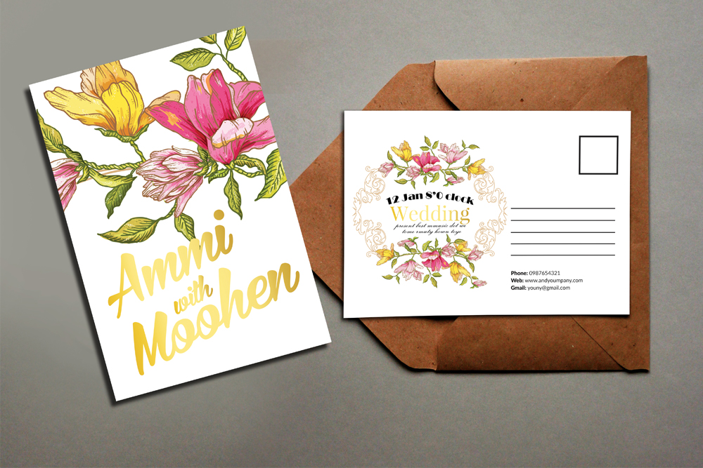 Floral Marriage Postcard Template example image 2